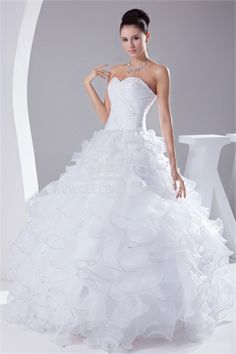 Sweetheart Floor-length Appliqued Beads Ball Gown Wedding Dress With Lace up
