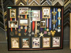 Do you have an athlete in the family? Here is a great idea to display all that effort and hard work for everyone to enjoy in a great shadow box. Old Trophies, Trophies And Medals, Trophy Display, Award Display, Graduation Gifts, Graduation Ideas, Grad Parties, Display Boxes, Photo Displays