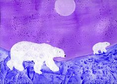 polar bear many methods used watercolor with salt; texture with plastic bag and acrylic bears