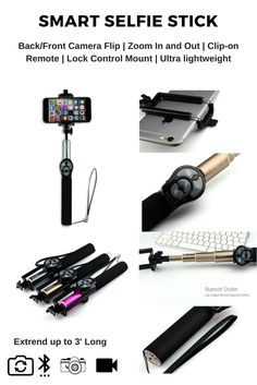 Ultralight Wireless Bluetooth All in one foldable selfie stick with bluetooth shutter button! Extend up to 3 feet long. Great for hiking, traveling, sports events, taking family photos, etc... Shop now!