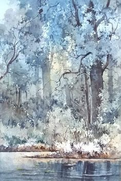 Watercolor Trees, Watercolor Landscape, Watercolour Painting, Watercolors, Sketchbooks, Art Projects, Scenery, Sketches, Paintings
