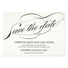 Black and White Flourish Swirl Save The Date Cards