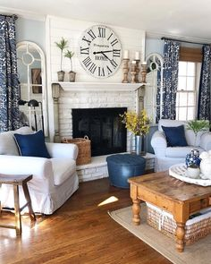 We are feeling the lately and by blues we mean this blue living area belonging to finishingtouchdecorbyjenny ! find home decor items to create your perfect cozy corner at decorsteals com Home Living Room, Living Area, Living Room Designs, Living Spaces, Living Room Decor Blue, Small Living, Living Room Curtains, Blue And White Living Room, Coastal Living Rooms