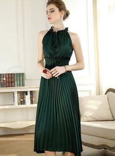 Green High Waist Sleeveless A-line Dress