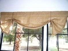 Valance - Burlap Mock Roman Window Valance, 36 84 wide, 3 Colors, Fringed Ties, The Sandpiper by Jackie Dix – Valance Burlap Valance, Rustic Curtains, Valance Curtains, Valance Ideas, Curtain Ideas, Window Valances, Kitchen Curtains, Window Coverings, Window Treatments