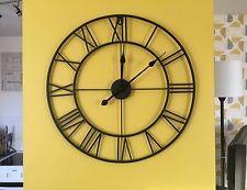 Large Metal Black Skeleton Wall Clock 60cm Roman Numerals Quartz