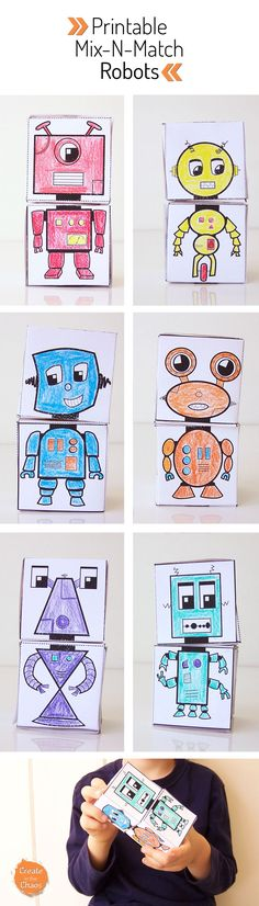 Free printable mix-n-match robot blocks - fun and easy kids craft! Lots of free printable papercrafts www.createinthechaos.com