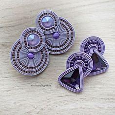 Soutache Necklace, Beaded Earrings, Earrings Handmade, Handmade Jewelry, Funky Jewelry, Etsy Jewelry, Leather Jewelry, Denim Earrings, Earring Tutorial