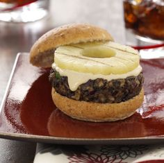Grilled Black Bean and Pineapple Burgers Recipe from Taste of Home -- shared by Carole Resnick of Cleveland, Ohio