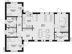 plan maison ossature bois plain pied 4 chambres maison modernes - Plan Maison Moderne 100m2