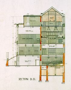Section of Glasgow School of Art, by Charles Rennie Mackintosh, 1910 Architectural Section, Architectural Drawings, Architectural Styles, Glasgow School Of Art, Art School, Mackintosh Design, Charles Rennie Mackintosh, Constructivism, London Hotels