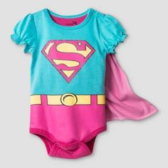fa6e394e0 Warner Brothers Baby Girls' Supergirl Bodysuit with Cape Set - Blue  Supergirl, Cape,