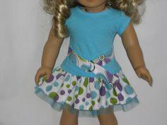 American Girl Doll Clothes - Aqua Dot Flirty Skirt Outfit. $16.00, via Etsy.