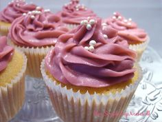Cupcakes with blueberry coulis and blueberry ganache