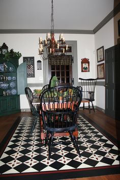 Windsor chairs  and Black and White Floorcloth