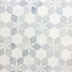 ALLURE WATERJET MOSAIC W/ HUDSON WHITE & ST REGIS -HONED Material: MARBLE Sanded Grout Color: Custom Building Products, #545 BleachWood QUICK SHIP