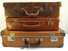 3 Vintage Suitcases c 1900 to 1940 s - English & Czechoslovakian