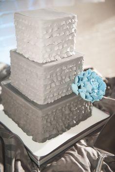 Aqua & Grey ombre ruffle cake