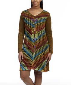 Look what I found on #zulily! Olive & Fuchsia Slash Appliqué Shift Dress  by Leopards & Roses, $27 !!  #zulilyfinds