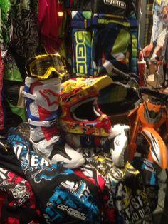Nuova esposizione vetrina Motocross. New exposure off road. Shoei helmets replica Barcia, Gaerne Boots, Ogio Bag, KTM, JT racing