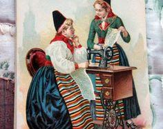 1892 Singer Sewing Machine Advertisement  Card National Ethnic Dress Costume  SWEDEN