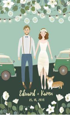 New Ideas Wedding Card Design Illustration Couple Portraits Handmade Wedding Gifts, Wedding Gifts For Friends, Unique Wedding Gifts, Trendy Wedding, Handmade Ideas, Perfect Wedding, Hipster Wedding, Wedding Games, Wedding Art