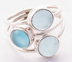 925 Sterling Silver Chalcedony Ring MCR-4039 from Edelsteinschmuck by DaWanda.com
