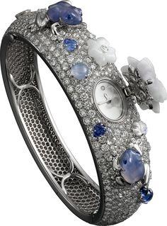 Cartier Montre Haute Joaillerie Or gris, quartz, saphir, calcedoine, jade, pierre de lune, diamants