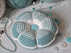 Crochet Pincushion by Carol Draper, via Flickr --- Super cute!! I will definitely be making some larger versions! lol