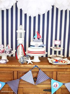 Preppy Nautical Birthday Party with DIY ideas on decorations, printables, food and favors - Great red, white and blue 4th of July or memorial day. #4thofjuly #redwhiteblue #nautical #nauticaldecor #nauticaltablescape Diy Halloween Treats, Diy Halloween Decorations, Halloween Halloween, Halloween Makeup, Halloween Costumes, Adult Birthday Party, Birthday Party Themes, Festive Crafts, Party Themes For Boys