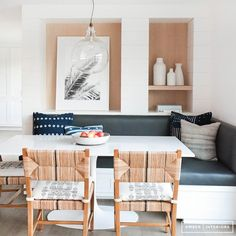 Light woods + bright whites + dark accents // Before and+After:+An+Incredibly+Crisp+California+Redesign+via+@mydomaine