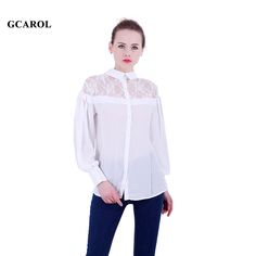Women New Lace Spliced Blouse OL Elegant Sexy White Chiffon Shirt Crochet Hollow Out Design Casual Tops For 4 Season