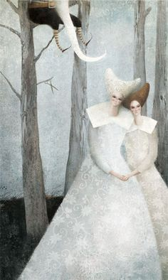 """Gabriel Pacheco- Im willing to bet this illustration is of the Grimm's story """"Snow White and Rose Red"""""""