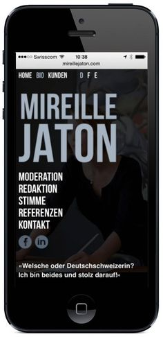 Ansicht der Website www.mireillejaton.com auf dem iPhone