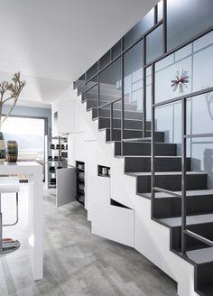 New under stairs storage space stairways Ideas Stair Railing Design, Home Stairs Design, Staircase Railings, Interior Stairs, Stairways, Home Interior Design, Interior Architecture, Staircase Storage, Stair Storage