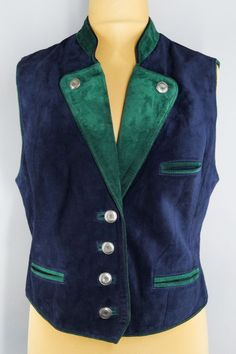 High quality genuine leather vintage vest in navy blue and green colors. Will suit both men and women. Leather Vest, Suede Leather, Green Colors, Vests, Blazers, Navy Blue, How To Wear, Jackets, Vintage
