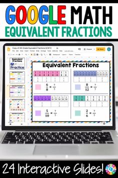 """LOVE THE VARIETY OF SLIDES!"" With this Grade Equivalent Fractions digital resource for Slides, your students will practice recognizing and generating equivalent fractions. Fractions For Kids, 4th Grade Fractions, Learning Fractions, Simplifying Fractions, Equivalent Fractions, Pizza Fractions, Ordering Fractions, Improper Fractions, Dividing Fractions"