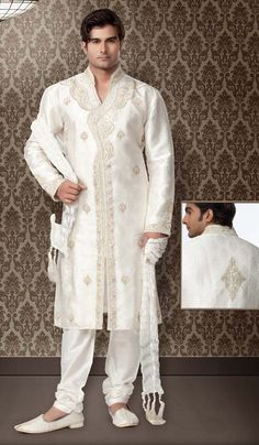 Ethnic Yet Modern Look, Kurta Pyjamas / Semi Sherwanis, Off white, Brocade