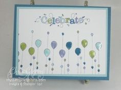 """""""My friend"""" stamp set upside down raindrops to form balloons by Stampin' Up: My Stamp Lady Chris Card Making Inspiration, Making Ideas, Style Inspiration, Scrapbook Cards, Scrapbooking, Cards For Friends, Handmade Birthday Cards, Collage, Birthday Balloons"""