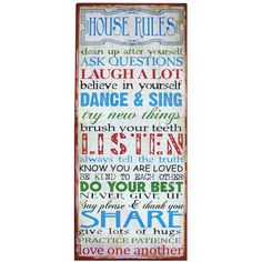 House Rules Wall Sign.