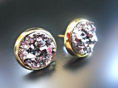 Ohrringe - GALAXY - Druse Ohrstecker Ohrringe Kristalle gold - ein Designerstück von Kleines-Karma bei DaWanda