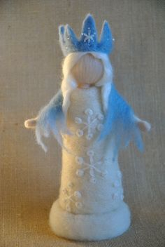 Waldorf inspired Needle felted /Standing doll: Queen Winter