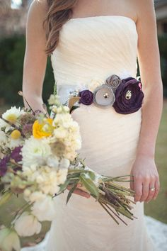 Laura Bridal Sash in Aubergine Grey and by CherryBlosomBoutique, $98.95