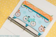 Three Ring Binder Pencil Case + Scrap Coin Purse - Free Sewing Tutorials from Stitched by Crystal + National Sewing Circle