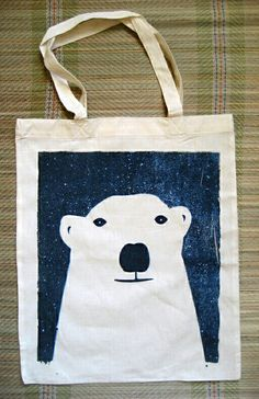 Items similar to Cool Bear Screenprinted Tote Bag on Etsy Sacs Tote Bags, Reusable Tote Bags, Diy Pour Enfants, Ideias Diy, Screen Printing, Purses And Bags, Sewing Projects, Applique, Crafty