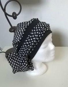 Turban préformé - Foulard cheveux - chapeau - bandeau chimio noir à pois  blancs jersey noir à très longs c6c34efd868