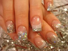 trendy nails french sparkle bling – & nails trendy nails french sparkle bling – & nails This image. Diva Nails, Glam Nails, Cute Nails, Pretty Nails, Salon Nails, Gliter Nails, Silver Glitter Nails, Bling Nail Art, Bling Nails