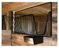 Hay rack mounted on grill stall front