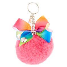 JoJo Siwa Pink Pom Pom with Rainbow Bow Keychain