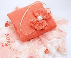 Coral Newborn Photography Prop Layering Set - 3 Piece Set in Lace Cheesecloth and Headband for Posing